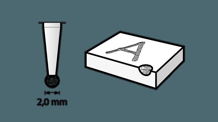 Diamantbestückter Fräser 2 mm
