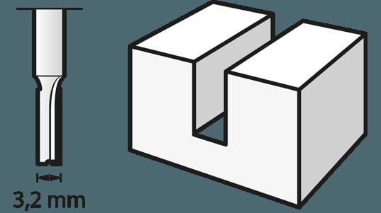Fraise à défoncer (HSS) 3,2 mm