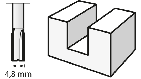 Fraise à défoncer (HSS) 4,8 mm
