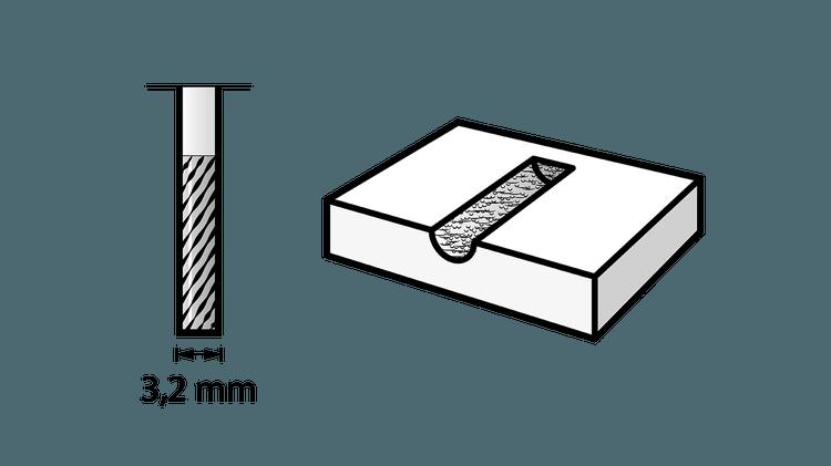Fraise en carbure de tungstène à bout carré 3,2 mm