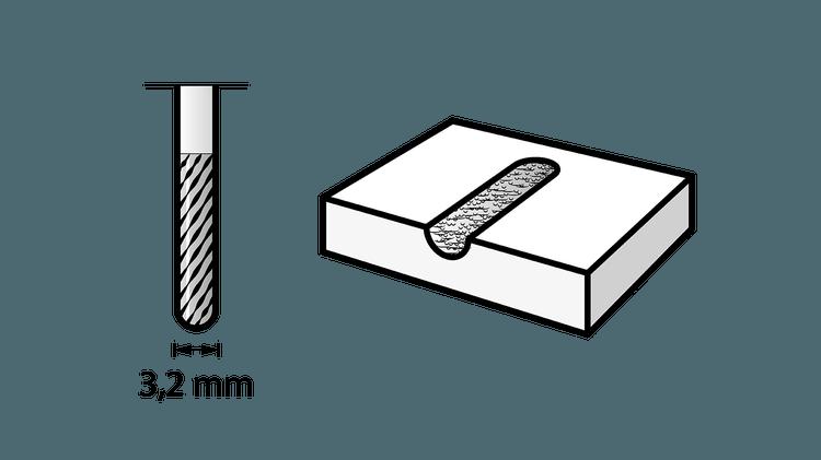 Fraise en carbure de tungstène à bout pointu 3,2 mm